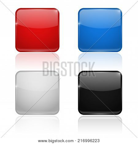 Square glass buttons. Colored set 3d icons. Vector illustration isolated on white background