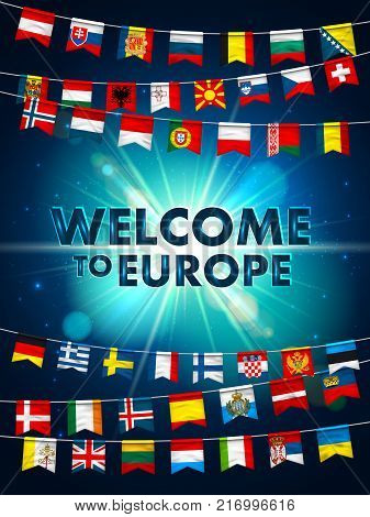 Colorful flags of different countries of the europe on shining blue background. Festive garlands of the international pennant. Bunting wreaths. Vector banner for celebration party, conference