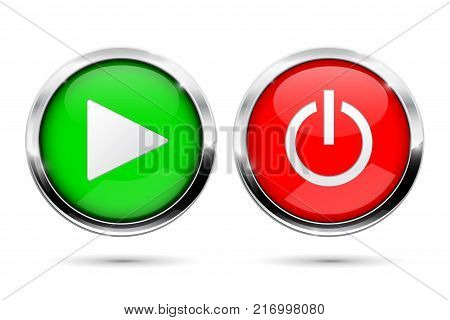 Play and Power buttons. Green and red round glass buttons with chrome frame. Vector 3d illustration isolated on white background