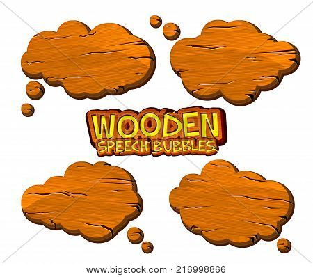 Set of wooden speech bubbles and dialog balloons in comic book style. Cartoon wood icons with place for text can be used for game design, ui development, banners, signboard.