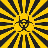 Biological hazard sign dangerous pop art style, vector sign Ionizing Biological yellow and black rays, glow, Hazard symbol warning poster