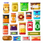 Canned goods set. Food preserved in a can, glass jar, metal container. Foodstuff and tinned goods. Vector flat style cartoon illustration isolated on white background poster