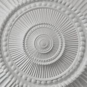 Gypsum stucco moulding plasterwork round abstract fractal pattern background. Plaster abstract inside out effect background White gypsum abstract background Decorative stucco element concept fractal poster