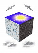 Cube with seasons and and the images of birds and clouds. poster