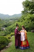 Biracial couple after their traditional Korean wedding ceremony surrounded by nature in the mountains. poster