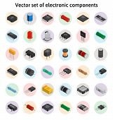 Big vector set of izometric electronic components. Collection of capacitors, resistors, diodes, transistors, inductors, microchips poster