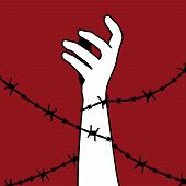 International Day for the Abolition of Slavery. The hand is wrapped in barbed wire. Vector silhouette. Barbed wire holds man. poster