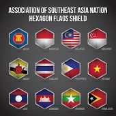 Association of Southeast Asian Nations Hexagon Flags Shield poster