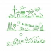 Outline eco city. Future ecological green environment and ecosystem vector concept. Environment ecosystem tree and sun, energy solar illustration poster