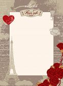 Vector menu blank for Paris cafe with a place for writing with the Eiffel Tower red heart and roses on the background of the old manuscript with spots in retro style poster