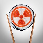 Radioactive food and contaminated meal with radioactivity as a piece of sushi held by chopsticks as a metaphor for nuclear threat in asia with 3D illustration elements. poster