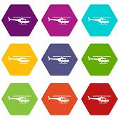 Military helicopter icon set many color hexahedron isolated on white vector illustration poster