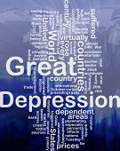 Word cloud concept illustration of Great Depression international poster