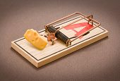 Mousetrap with swiss cheese against a neutral background poster