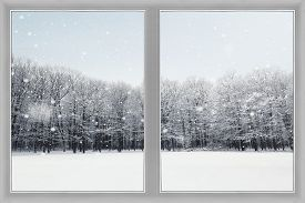Window is over winter nature forest background