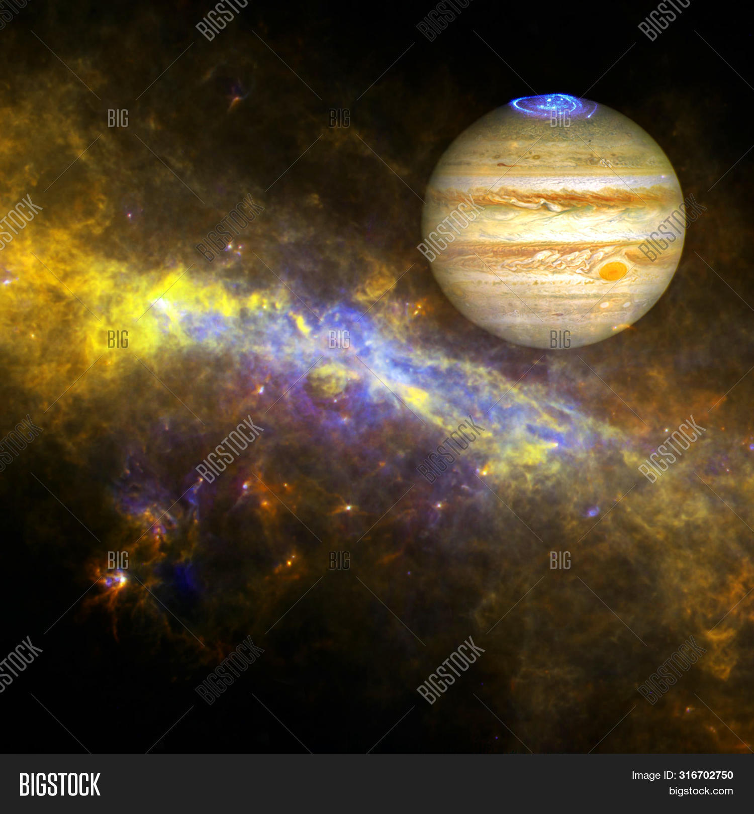 Planet Jupiter In The Colorful Starry Universe. Elements Of This Image Furnished By Nasa.