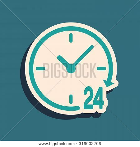 Green Clock 24 hours icon isolated on blue background. All day cyclic icon. 24 hours service symbol. Long shadow style. Vector Illustration poster