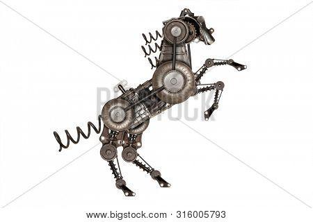 Steampunk style horse. Mechanical animal photo compilation