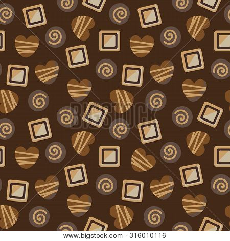 A Seamless Vector Pattern With A Variety O Milkdar And White Chocolate Pralines. Surace Print Design