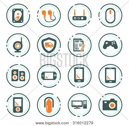 Supermarket Electronic Color Vector Icons For User Interface Design