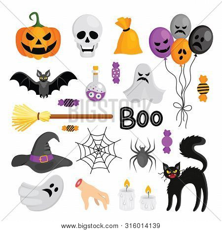Set Of Vector Elements For Halloween. Pumpkin, Broom, Potion With Eyes, Severed Hand, Black Cat, Bat