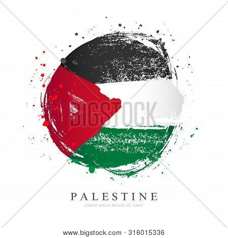 Palestinian Flag In The Shape Of A Big Circle. Vector Illustration On A White Background. Brush Stro