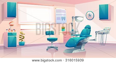 Dentist Office, Stomatology Service Or Clinic Cabinet, Orthodontist Practice Workplace Interior With