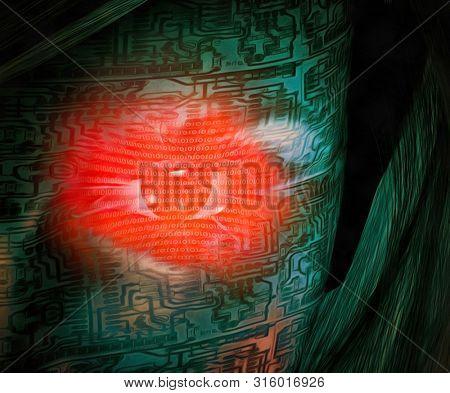 Red digital eye of droid woman. 3D rendering
