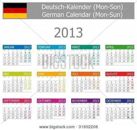 2013 Type-1 German Calendar Mon-Sun