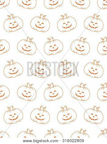 Seamless Pattern With Pumpkins On White Background, Simple Picture With Pumpkins To Holiday Hallowee