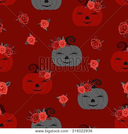Seamless Pattern With Cute Pumpkins And Flowers On Red Background, Simple Picture With Pumpkins To H