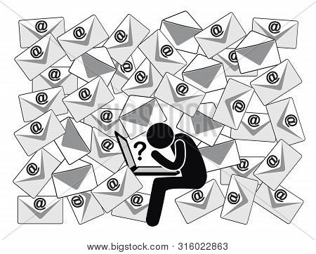 Many Emails With Open Questions. Office Person Gets Mixed Up By The Huge Number Of Daily Messages At