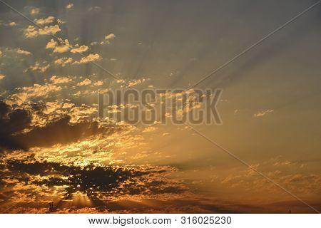Sunrise , Alcoletge, First Lights, Sunbeams Between Clouds