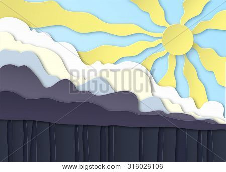 Thunderclouds. Rain On The Ground, Downpour. Above The Clouds The Sun Shines In The Blue Sky. Layere