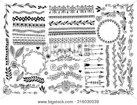 Set Of Hand Drawing Doodle Page Divider, Border, Corner In Doodle Floral Style