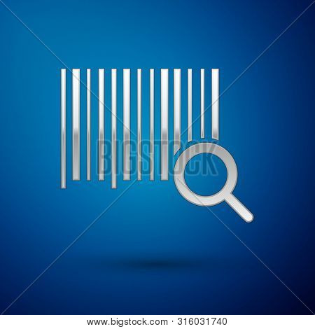 Silver Search Barcode Icon Isolated On Blue Background. Magnifying Glass Searching Barcode. Barcode