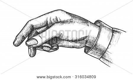 Female Hand Pointer Finger Showing Gesture Vector. Elegant Woman Arm Index Finger Arrow Suggesting O