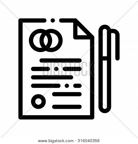Pre-nuptial Agreement Sign Thin Line Icon. Prenuptial Agreement On Paper List And Pen Linear Pictogr