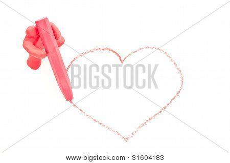 Doll draw a heart