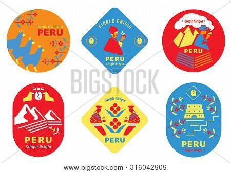 Single Origin Peru Coffee Label Set With Local People,uncle Drinking  Coffee,girl Harvesting Fruits