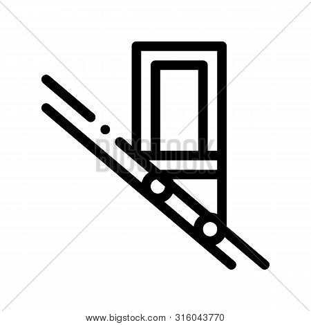 Public Transport Inclined Elevator Vector Icon Thin Line. Inclined Elevator Machine, Urban Passenger