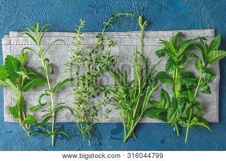 Herbs And Spices.fresh Herbs Selection Included Rosemary, Thyme, Mint, Lemon Balm And Arugula. Overh