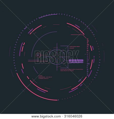 Futuristic Aim System Overlay Vector Illustration. Connections And Circles. Future Information And S