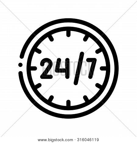Twenty-four-seven Service Vector Thin Line Icon. Twenty Four Hours Seven Days In Week, Hotel Perform