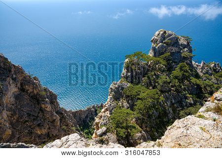 View Of The Black Sea From The Height Of Mount Ayia, A Cape On The Southern Coast Of The Crimea, To