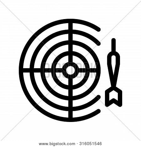Interactive Kids Game Darts Vector Thin Line Icon. Baby Pub Bar Play Game With Dart And Board Childr