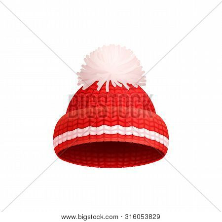 Knitted Red Hat With White Pom-pom Vector Icon Isolated. Warm Headwear Item, Winter Cloth Thick Wool