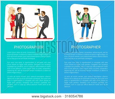 Paparazzi and photographer man with camera taking photo of celebrities couple, guy setting focus in lens vector posters with text. Journalist with tripod poster