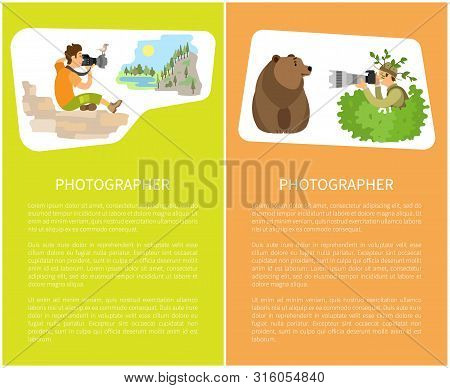 Photographers Taking Picture With Photo Equipment. Photojournalist And Reporter Sitting Making Photo