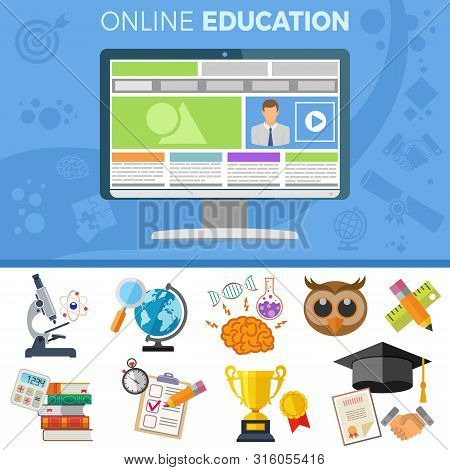 Online Education Banner With Flat Icon Set For Flyer, Poster, Web Site Like Mortarboard, Books, Micr